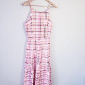 Long Tall Sally Plaid Ruffle Maxi Dress Cotton